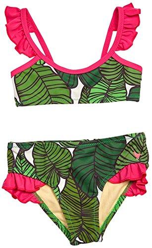 Pink Chicken Girls' Zoe Bikini, Green Tropical Leaves, (Zoe Leaf Print)