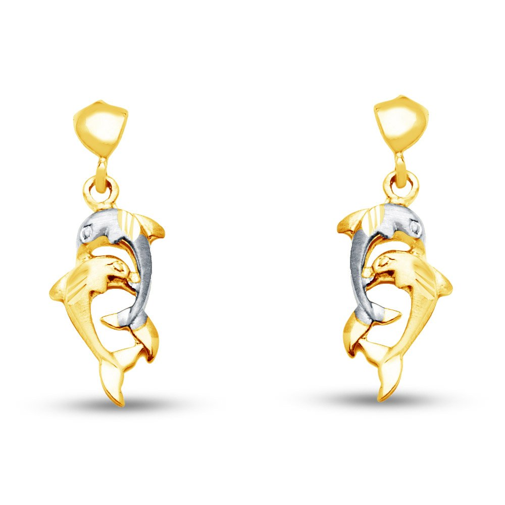 14k Two Tone Gold Fancy Dolphin Dangle Hanging Drop Earrings (8 X 27mm) by Sonia Jewels