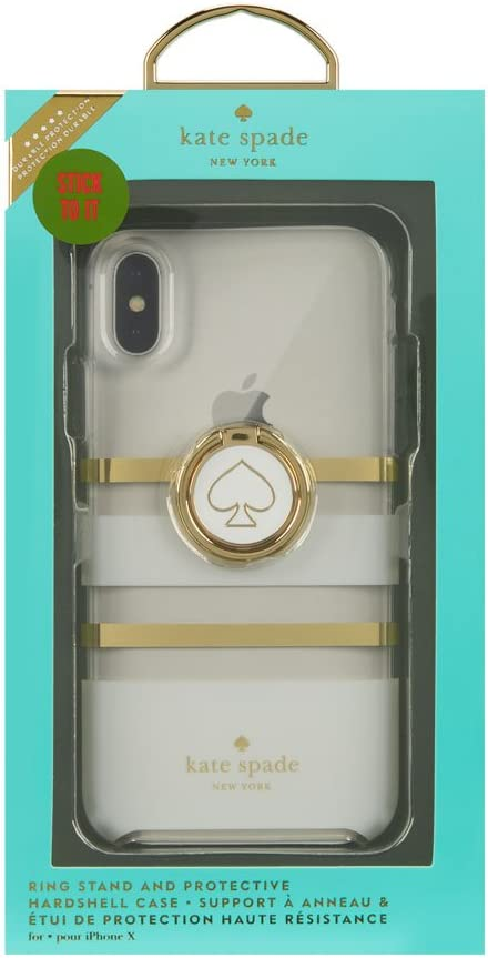 Kate Spade iPhone X Gift Set White Charlotte Stripe Ring Stand and ...