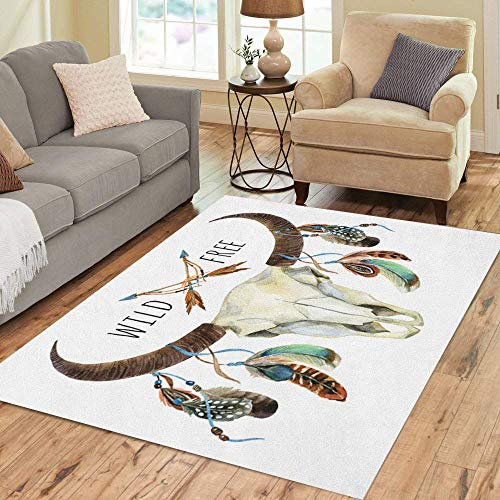 Pinbeam Area Rug Cow Skull Animal Feathers Buffalo Wild and Free Home Decor Floor Rug 5' x 7' Carpet