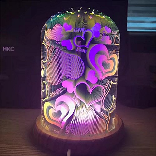 3D Glass Magic Lights,Colorful Crystal Glass Lamp USB Table Lamp Night Light Wooden Base LED Home Decoration for Kid,Children,Garden,Patio,Party bedroom