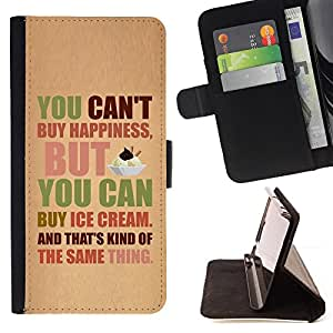DEVIL CASE - FOR LG Nexus 5 D820 D821 - Happiness Ice Cream Funny Text Quote - Style PU Leather Case Wallet Flip Stand Flap Closure Cover