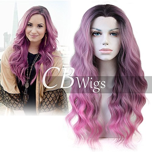 Cbwigs Ombre Sweet Pink Long Wavy Synthetic Lace Front Wig for Women Half Handmade Baby Pink Dark Roots Natural Wavy Fiber Hair Wig Heat Resistant 18 inch T4/171/2230