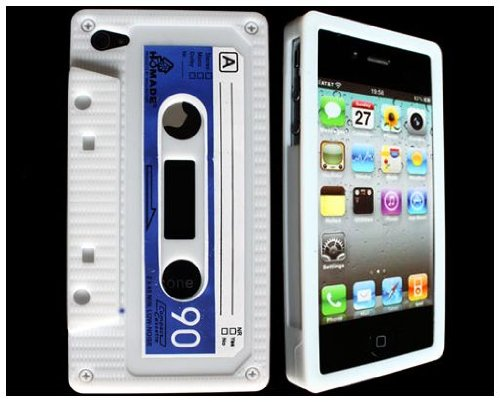 White Silicone Retro Cassette Tape Case Skin Cover for iPhone 4S 4 AT&T Verizon