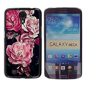 TopCaseStore / la caja del caucho duro de la cubierta de protección de la piel - Flower Floral Pattern Black - Samsung Galaxy Mega 6.3 I9200 SGH-i527