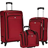 Travelers Club 3 Piece''Monterey Collection'' Constructed with Top Durable Material Features 28'' Suitcase, 20'' Carry-On Luggage, and 15'' Rolling Underseater, Red Color Option