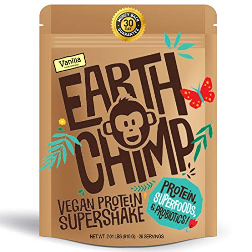 EarthChimp Plant Based Vegan Protein Powder (26 Servings, 32 Ounces) with Superfoods, Probiotics & Organic Fruit & Veg, No Added Sugar, Gluten Free, Gum Free, Lactose Free, Non GMO (Vanilla)