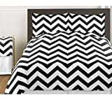 Sweet Jojo Designs 3-Piece Black and White Chevron Childrens and Teen Zig Zag Full / Queen Girl or Boy Bedding Set Collection
