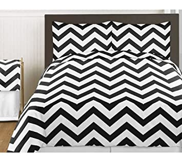 Good Amazon.com: Sweet Jojo Designs 3 Piece Black And White Chevron Childrens  And Teen Zig Zag Full / Queen Girl Or Boy Bedding Set Collection: Home U0026  Kitchen