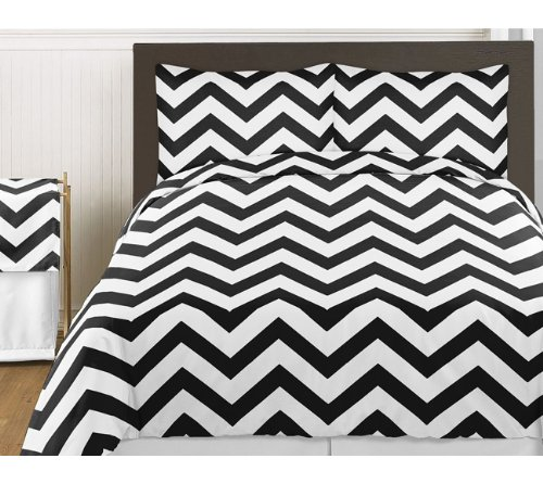 (Sweet Jojo Designs 3-Piece Black and White Chevron Childrens and Teen Zig Zag Full/Queen Girl or Boy Bedding Set Collection)