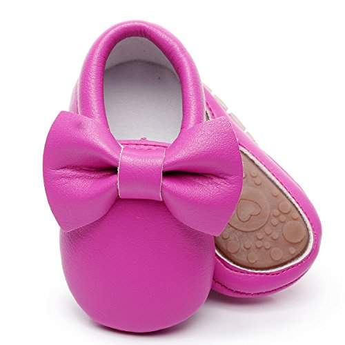 HONGTEYA Baby Moccasins with Rubber Sole - Flower Print PU Leather Tassel Bow Girls Ballet Dress Shoes for Toddler (0-6 Months/US 3.5/4.33''/See Size Chart, Hot -