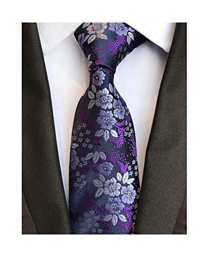 (Men's Classic Violet Dark Purple Silk Ties Jacquard Woven Dress Business Necktie)