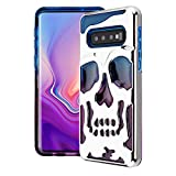 Bemz Lucid Skull Series Case Compatible with Samsung Galaxy S10, Double Layer (Military Grade Drop Tested) Phone Protector Case Cover - Blue/Purple/Silver