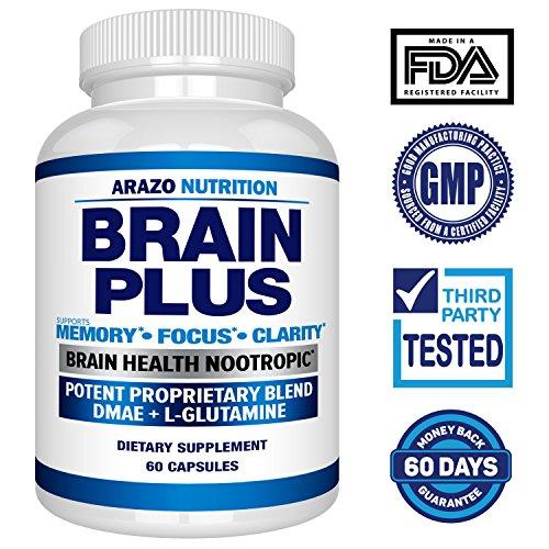 Premium Brain Function Supplement – Memory, Focus, Clarity – Nootropic Booster with DMAE, Bacopa Monnieri, L-Glutamine, Multi Vitamins, Multi Minerals - Arazo Nutrition