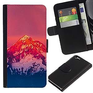 "A-type (Montaña Nevada Sunset"") Colorida Impresión Funda Cuero Monedero Caja Bolsa Cubierta Caja Piel Card Slots Para Apple (4.7 inches!!!) iPhone 6 / 6S"