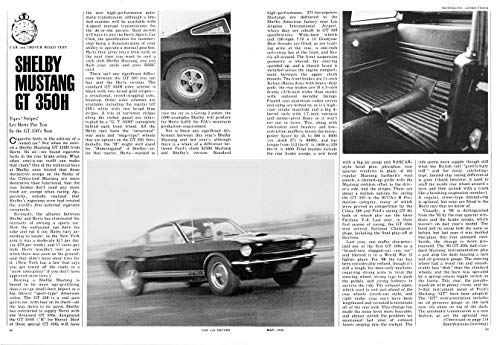 1966 SHELBY MUSTANG 350H FASTBACK VINTAGE NON-COLOR ROAD TEST - CAR & DRIVER - USA - AWESOME ORIGINAL !! (CD566).