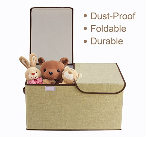 Jute Stackable (Foldable Storage Cubes, Cshidworld Fabric Bin Dual Clothing Storage Baskets Box with Lid, Dual Handles for Baby, Kids, Children Clothing Organizer, Home Goods,)