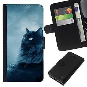 eJoy---La carpeta del tirón la caja de cuero de alta calidad de la PU Caso protector - LG OPTIMUS L90 - --Black Persian Cat Nebelung Longhair