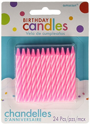Amscan Amsdd Party Time Spiral Candy Stripe Birthday Candles (288 Piece), Pink, 2.5'' by Amscan