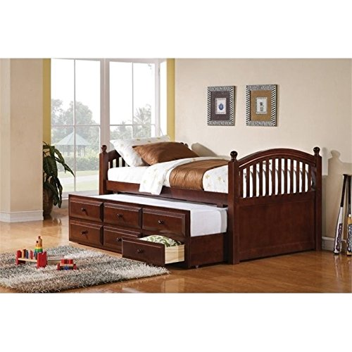 Trundle Daybed Cherry (Bowery Hill Twin Daybed with Trundle and Storage Drawers in Cherry)