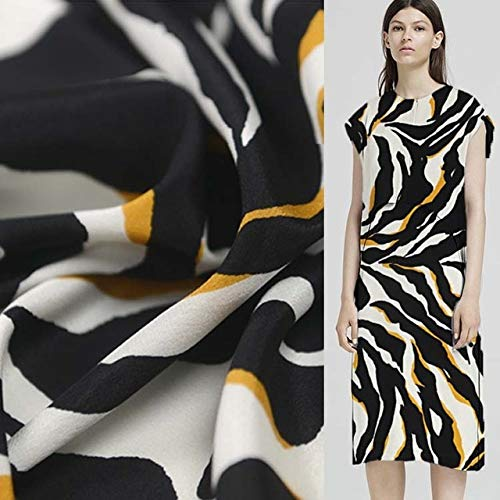 BeesClover 100% Silk Pure Crepe Chine Silk Fabric Black White and Orange Striped 16momme 112cm Width by Yard,SCDC118 Show ()