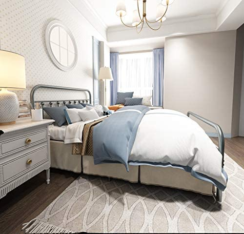 TEMMER Metal Bed Frame Queen Size with Headboard and Footboard Single Platform Mattress Base,Metal Tube and Iron-Art Bed Queen,Gray Silver