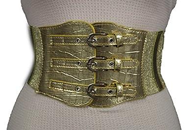 TFJ New Women Fashion Corset Belt Wide High Waist Faux Leather 3 Buckles Xs S Gold