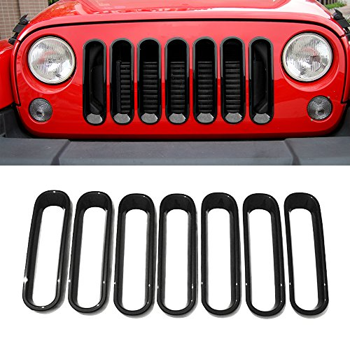 Slot Insert - RT-TCZ Front Grill Mesh Grille Insert Frame Trims cover For Jeep Wrangler JK&Rubicon Sahara & Unlimited 2007 - 2017[7PCS]