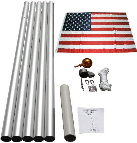 20' Aluminum Sectional Flag Pole Kit with 3 By 5 Foot Us Flag