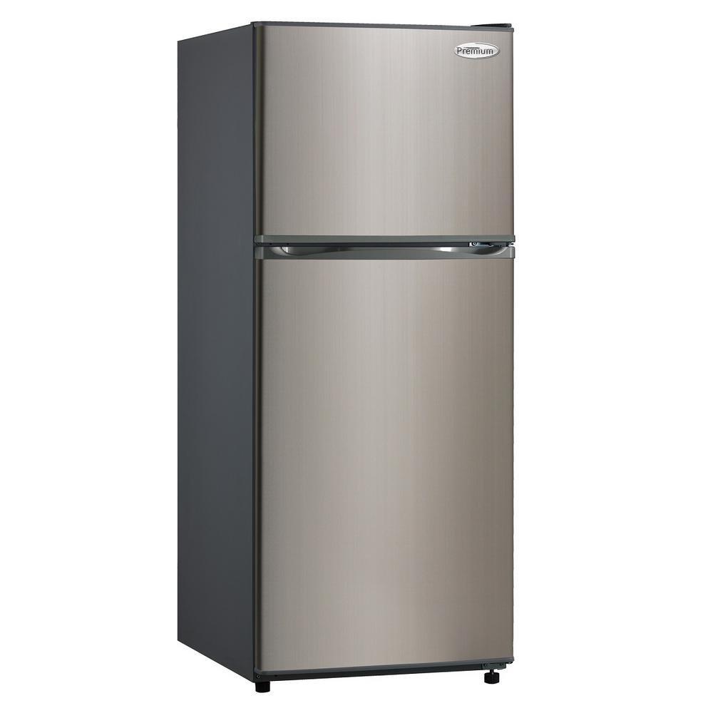 PREMIUM 9.9 cu. ft. Frost Free Top Freezer Refrigerator in Black with Stainless Steel Door