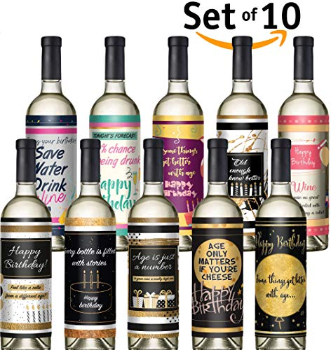 Wine bottle labels - Set of 10 - Birthday wine labels - for all occasions - dirty 30 birthday party supplies - cheers to 40 years - 30th 40th 50th 60th birthday gifts for woman