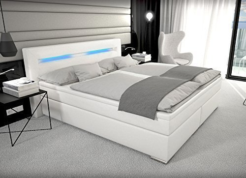 designer boxspring bett mit led beleuchtung 180x200 cm. Black Bedroom Furniture Sets. Home Design Ideas