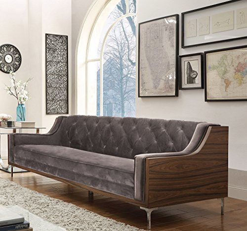 Iconic Home Clark Modern Contemporary Light Grey Velvet Tufted Swoop Arm Sofa with Walnut Finish Silvertone Chrome (Contemporary Walnut Sofa)