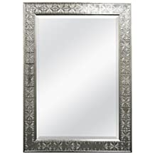 MCS 24 by 36-Inch Beveled Mirror, 32 by 44-Inch, Medallion Finish, Stamped Silver