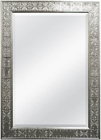 MCS 24×36 Inch Stamped Medallion Wall Mirror, 32×44 Inch Overall Size, Champagne Silver 47700 , 32 by 44-Inch