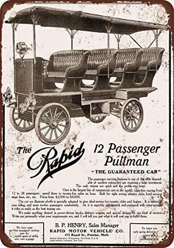 PFVS 1908 Rapid 12 Passenger Pullman coche, diseño clásico de reproducción Tin Sign - Placa de Metal 20 x 30 cm