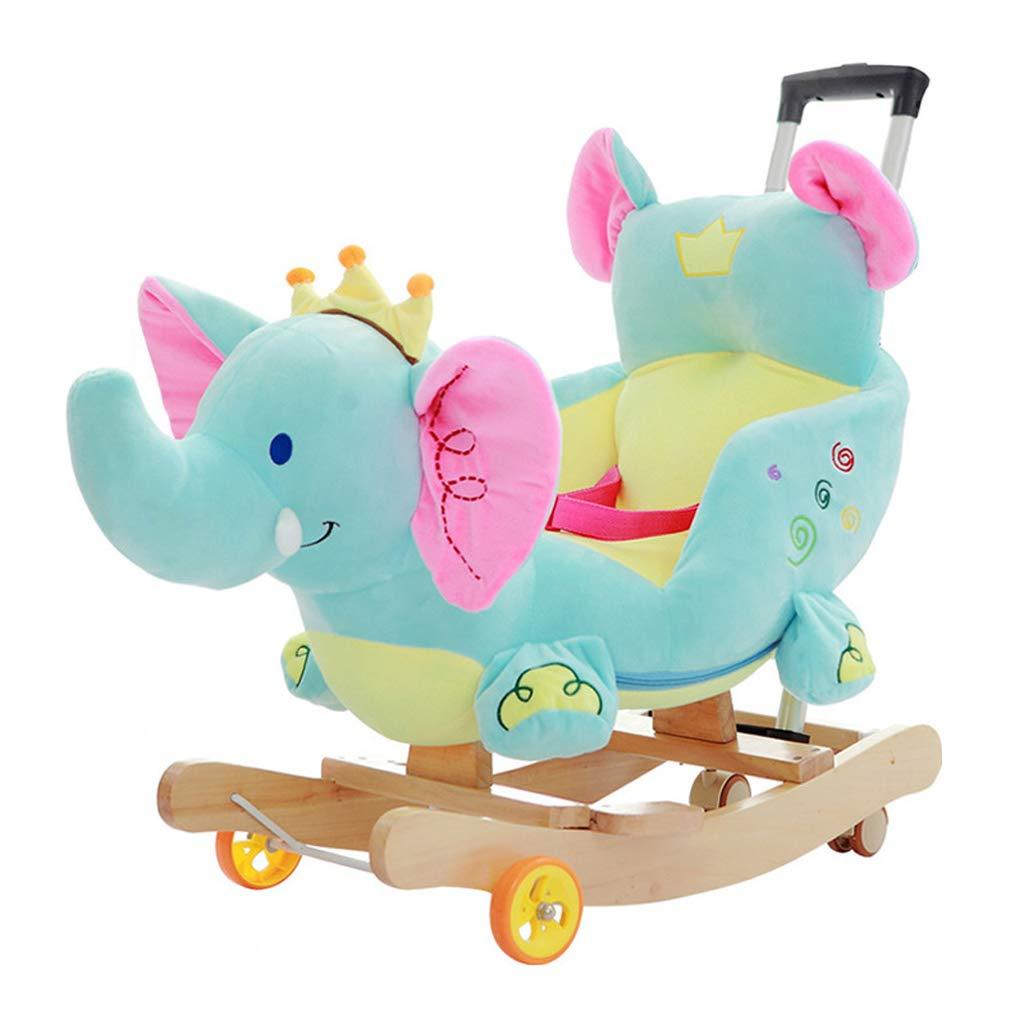 HUYP Silla Mecedora Música Baby Shake Juguetes para Niños Grandes Regalo De Edad Pequeño Carro De Madera para Caballos (Color : A)