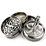 Chromium Crusher 2 Inch 4 Piece Tobacco Spice Herb Grinder with Mill Handle - Gun Metal