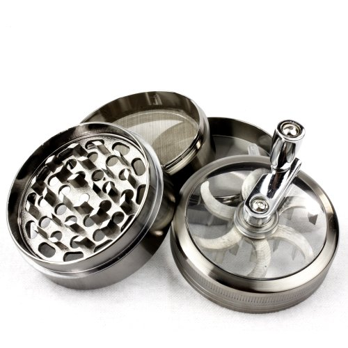 Metal Tobacco Herb Grinder - Chromium Crusher 2.2 Inch 4 Piece Tobacco Spice Herb Grinder with Mill Handle - Gun Metal