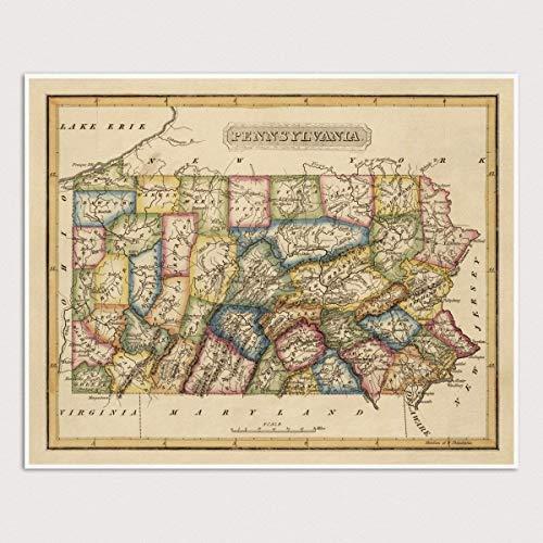 Old Pennsylvania Map Art Print, Archival Reproduction, 1817, Unframed ()