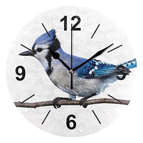 Double Joy Wall Clock Round Cute Bird Animal Nature 10 Inch Diameter Silent Decorative for Home Office Kitchen ()