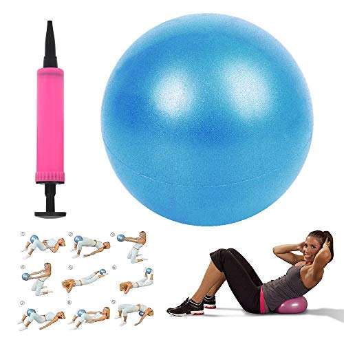 Carllg Mini Exercise Ball 10″(25cm) for Yoga Pilates Barre Women, Balance Stability Training, Fitness Gym Workout Anti Burst and Non-Slip Balls with Small Inflatable Pump
