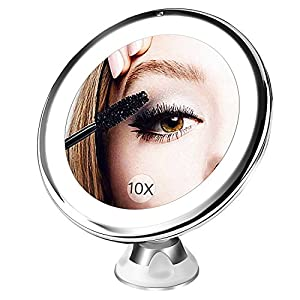 BESTOPE Upgraded 10X Magnifying Makeup Mirror with 16 Natural Led Lights,Portable Lighted Bathroom Mirror,360°Rotation Locking Suction,Dimmable Light,Battery Operated