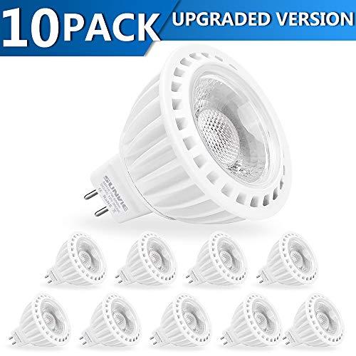 SUNVIE MR16 LED Bulb Dimmable 50W Halogen Equivalent 7w 3000K Warm White AC/DC 12V Spotlight Bulb for Outdoor Landscape Indoor Flood GU5.3 Base (10-Pack)