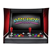 vipsung Video Games Tablecloth Arcade Machine Retro Gaming Fun Joystick Buttons Vintage 80s 90s Electronic Dining Room Kitchen Rectangular Table Cover