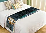 Custom Animal Bed Runner, Tiger Standing on the Rock near the waterfall mountain landscape Bed Runners And Scarves Bed Decoration 20x95 inch