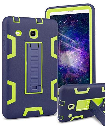 Samsung Galaxy Tab E 8.0 Case,TIANLI[Kickstand Features][Shock Absorption]Three-Layer Heavy Duty Armor High Impact Resistant Bumper Protective Case Cover for Galaxy Tab E 8.0,Dark Blue/Lemon Yellow