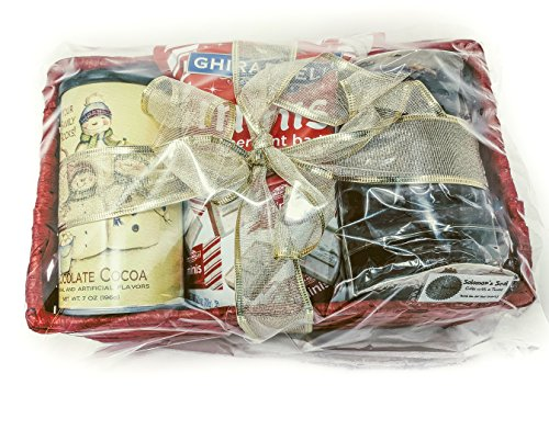 Christmas Basket Bundle With McSteven's Hot Chocolate, Ghirardelli Mini's Peppermint Bark, Weissella Chocolate Covered Gingerbread Cookies Perfect Gift for That Special Student, Teacher, Best Friend