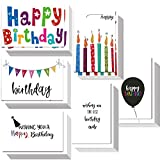 Bulk Happy Birthday Cards 48 Box Set Assorted Birthday Greeting Cards with Envelopes and Seals, 4 x 6' Handwritten Creative Colorful Design Blank on the Inside