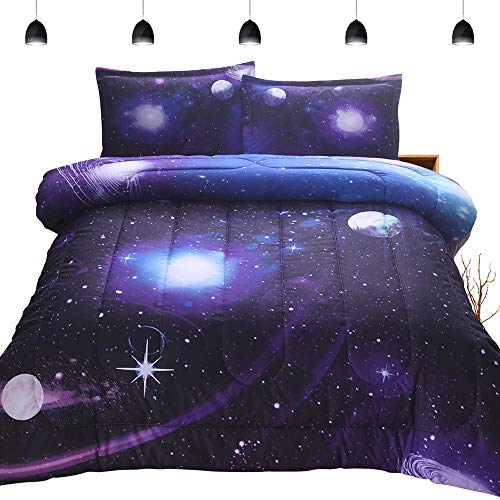 PomCo Galaxy Comforter Twin (68×88 Inch), 2Pcs(1 Galaxy Comforter & 1 Pillowcases) 3d Space Outer Sky Microfiber Bedding set, Universe Planet Galaxy Comforter Set for Boy Girl Teen Kid